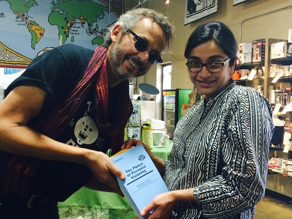Ari and Gauri with the new Lapsed Anarchist pamphlets.