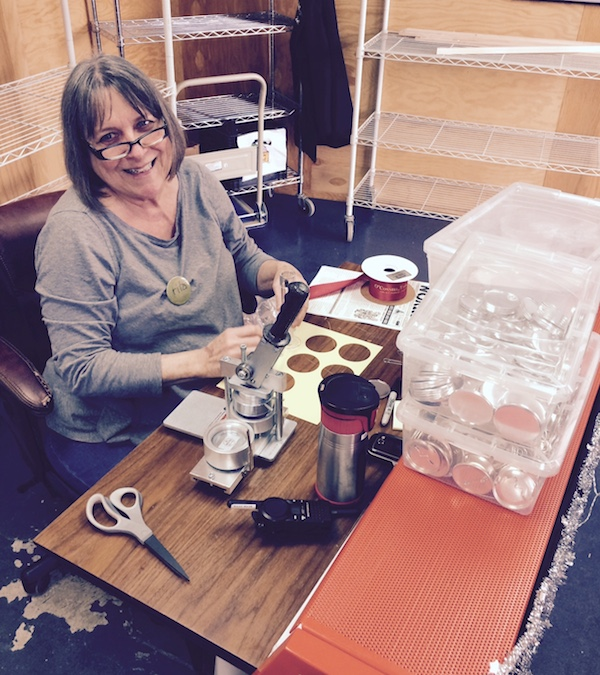 Rita makes name buttons for staff at Zingerman's Mail Order.