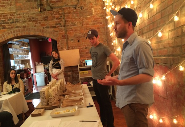 Mike and Steve talk about blue cheese at the Bayley Hazen tasting.