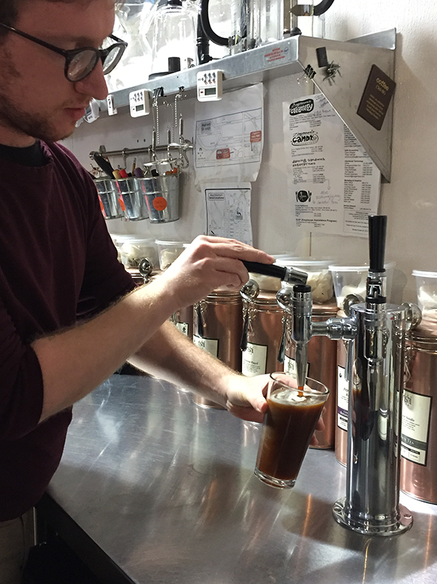 Our Nitro Cold Brew pours just like a Guinness!