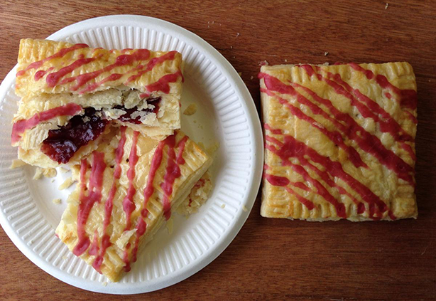 Our Raspberry Patti's Pocket features our flakiest butter pie dough, filled with seedless raspberry preserves