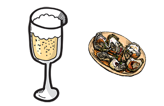 Celebrate the season with oysters and sparkling wine!