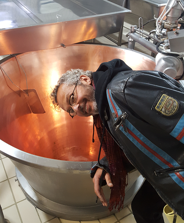 Ari checking out the vats that parmesan is made in
