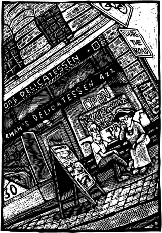 scratchboard illustration of Emma Goldman and Robert Greenleaf sitting on bench in front of the Deli